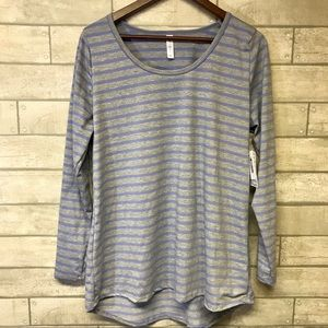 LuLaRoe shirt Lynnae XL blue and gray